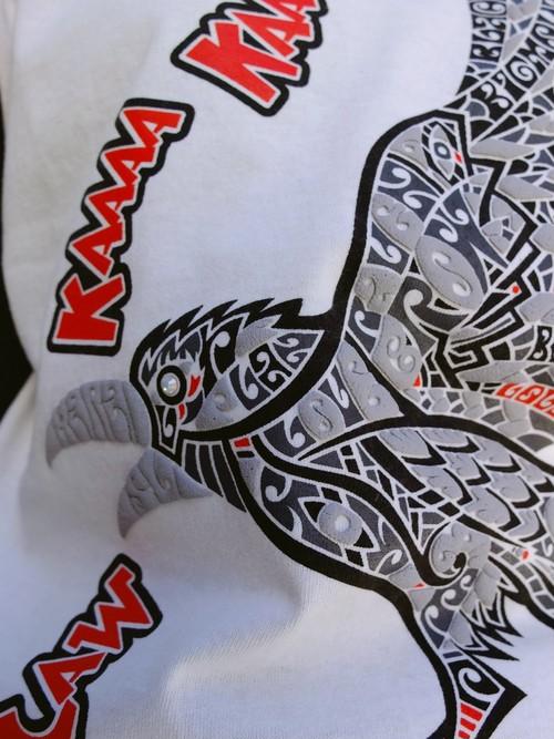 烏カラス 七分丈ベースボールTシャツ カアァァァ~ C/#ナチュラルホワイト×南海グリーン