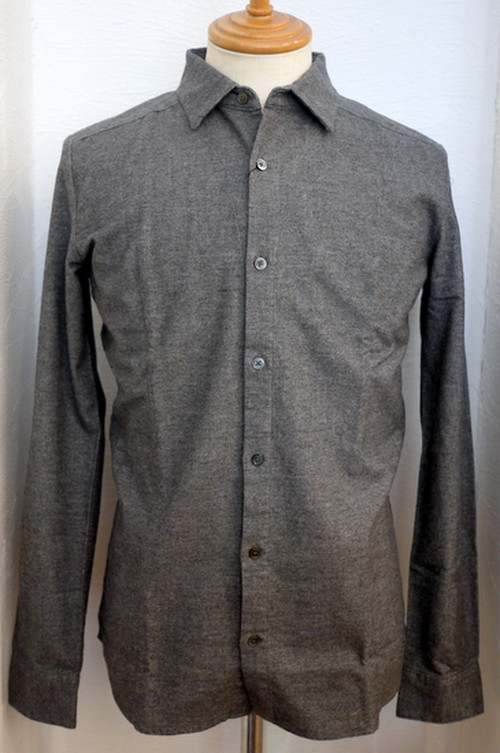 Cotton Stretch Flannel Short Collar Shirts DarkGray