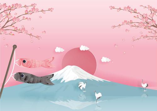 【A0】梅の花と富士山