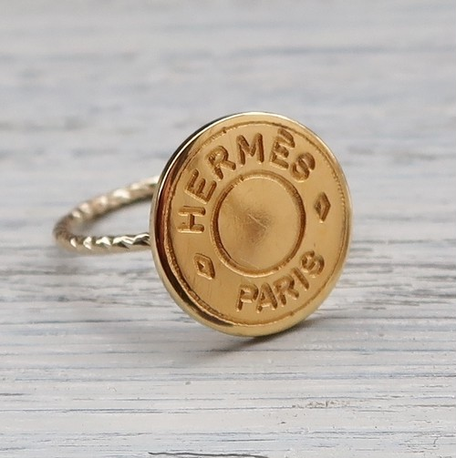 VINTAGE HERMES BUTTON & RING SET 14mm