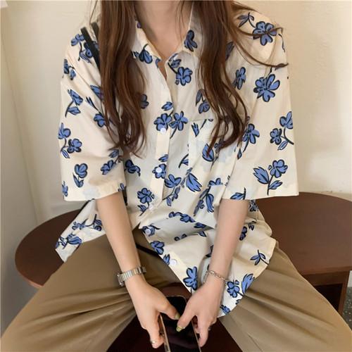 ゆったり 夏 大人気 オシャレ POLOネック 半袖 花柄 シンプル 着痩せ シャツ・トップス
