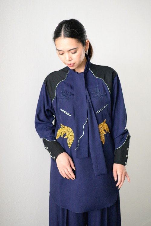 TOGA PULLA / Rayon embroidery dress