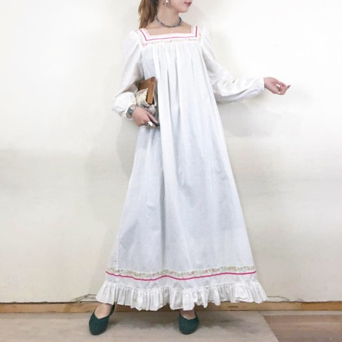 70s white long dress【025】