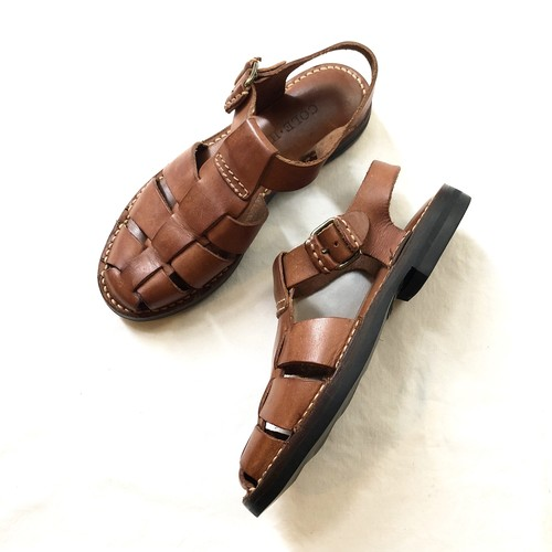 """""""COLE HAAN"""" Brown Leather Woven Leather Shoes / コールハーンレザーサンダル・ストラップシューズ"""