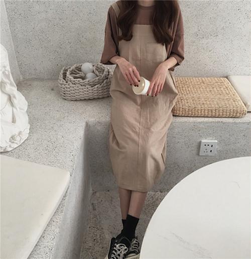 ★【送料無料】くすみカラーサロペットスカート!