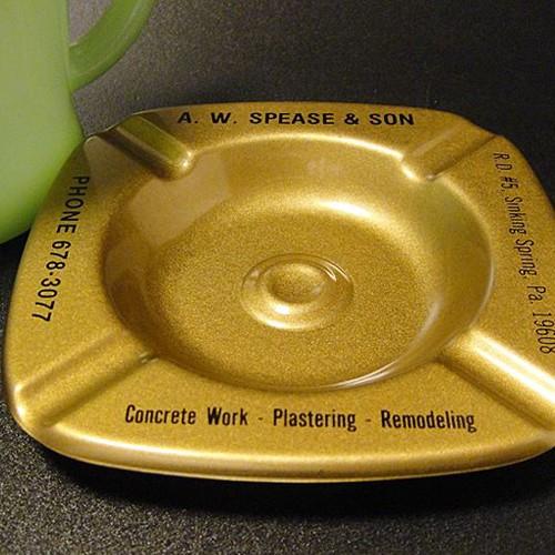 ★60'sアメリカ外装工事会社広告ノベルティ金属製灰皿メタリックゴールド