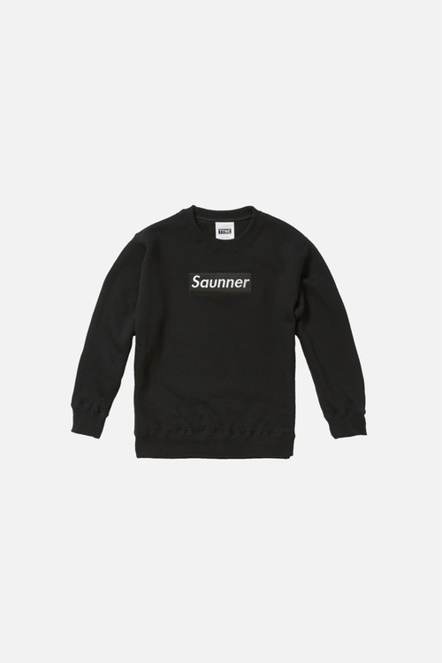 Saunner Box Logo Sweatshirt for Kids - Black/Black Logo