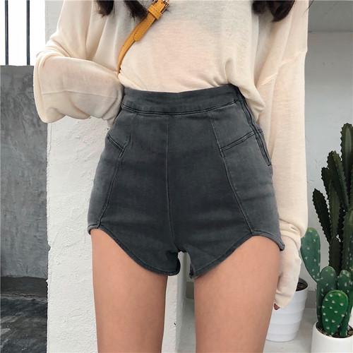 【ボトムス】韓国ファッションレトロハイウエストデニムショートパンツ
