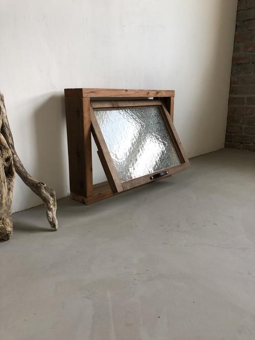 数量限定 OWW-DB サイズオーダー可 外木枠付き 滑り出し窓 冊子 海外型板ガラス付き 新築 リノベーション 古材 窓 ガラス付き ガラス窓