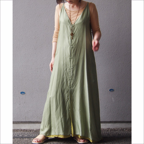 【hippiness】cupro Vneck camisole one-piece/ 【ヒッピネス】キュプラ ブイネック キャミソール ワンピース