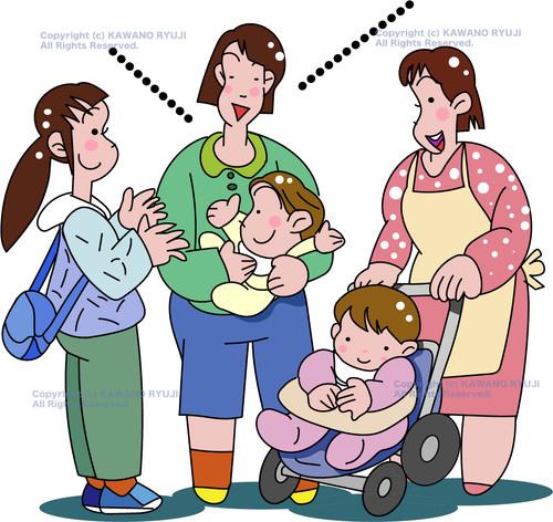 お母さんたちが赤ちゃんを抱いておしゃべりをする_.aiデータ(ベクター)