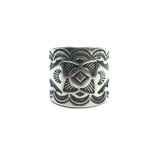 Navajo Vintage Sterling Silver Traditional Stamp Ring