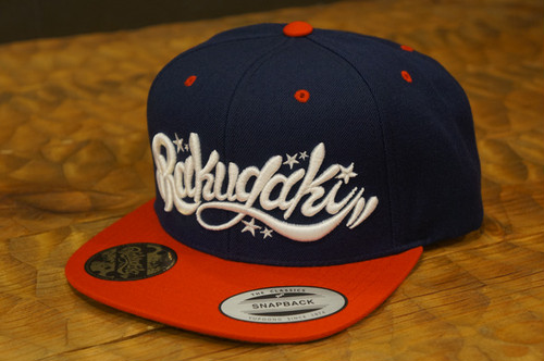 RAKUGAKI Main logo Snap Back Cap Navy/Red x White