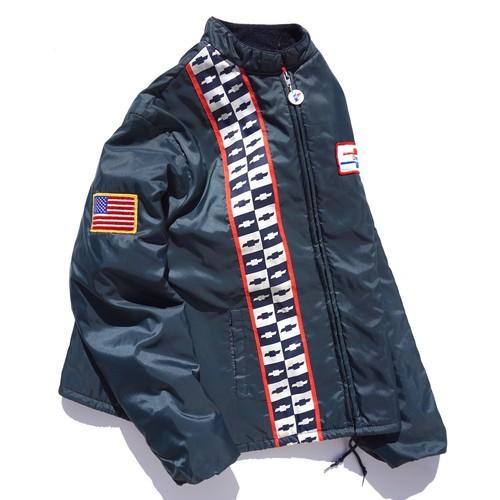 1970's USA製 [horizon] CHEVROLET ナイロンレーシングジャケット キルティングライニング付 ネイビー 表記(L) シボレー ヴィンテージ