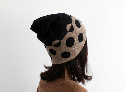 % PERCENT ニット帽(秋冬用・リバーシブル)セルフヒーター・ホールガーメント・ブラウン・ブラック(男女兼用)