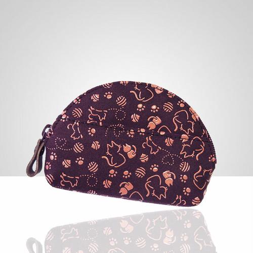 猫柄半月型小銭入(紫革×ピンク漆)