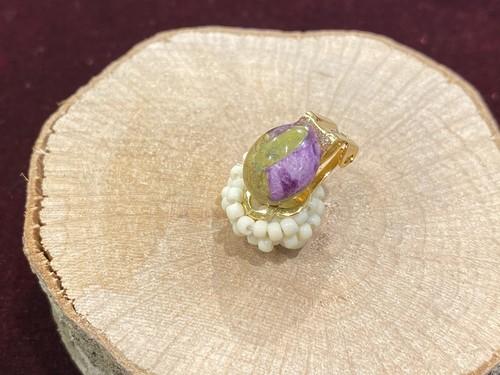 天然石×ビーズ刺繍の2wayイヤリング(アトランティサイト)