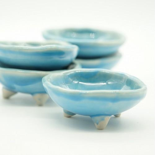 コマカアイランドブルー足つき小鉢 2個セット【玉城焼】