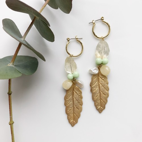 Citrine leaf pierce / earring