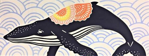 紅型柄手ぬぐい(波とザトウクジラ)