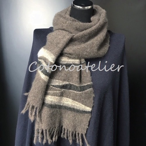 """【オーダーメイド御予約】カシミヤマフラー ミニサイズ (20 x 150cm) """"Reservation""""  made to order original pattern handwoven cashmere scarf mini size"""