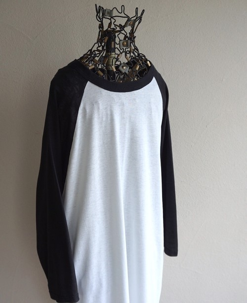 1980's〜90's USA製 [RUSSELL] 3/4スリーブ ラグランTシャツ ホワイト×ブラック 表記(XL) ヴィンテージ