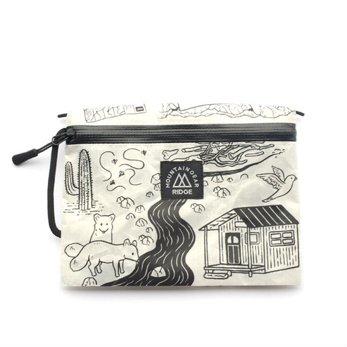 "RIDGE MOUNTAIN GEAR Travel Pouch Plus JUN OSON  ""Trail""(White×BlackPrint)リッジマウンテンギア"