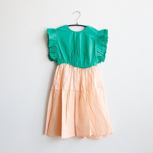 《frankygrow 2020SS》BACK SHAN FRILL DRESS DYED / green × pink / S・M・L