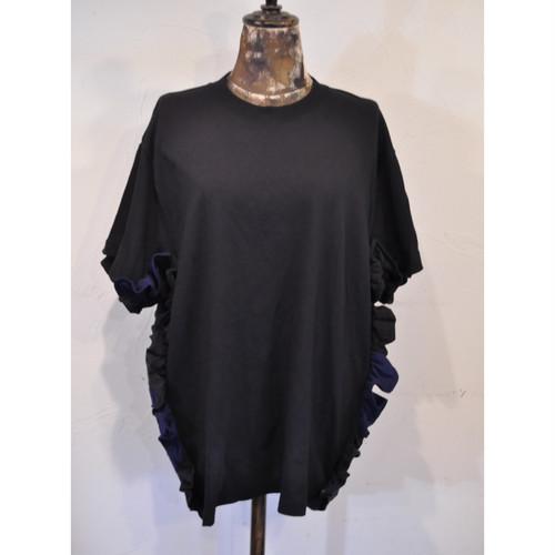 【 RehersalL 】side frill Tshirt(black7) /【リハーズオール】サイドフリルTシャツ(ブラック7)