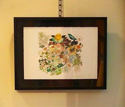 白雲友子「369ミロク・弥勒」ジークレー複製原画・竹和紙【黒塗り金縁・立体箱額入りBox frame