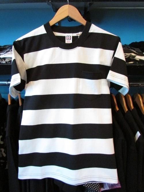 S/SポケットTシャツ ボーダー ホワイト×ブラック HOUSTON