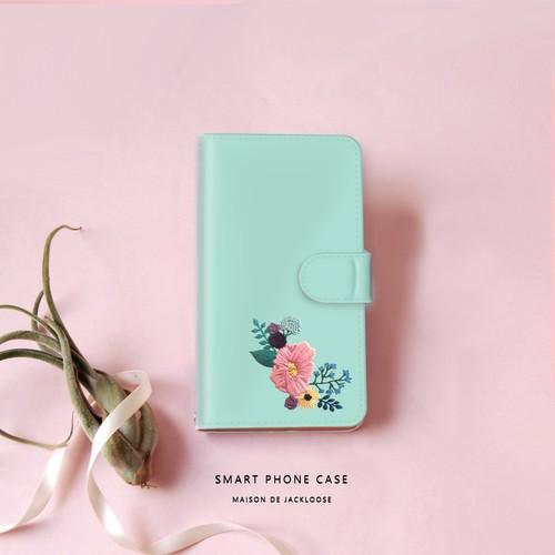 【スマホケース手帳型】 ナチュラルグリーンの刺繍プリント・iPhone Xperia AQUOS Galaxy etc ほぼ全機種対応