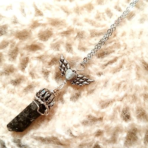 モリオンの翼ネックレス〰️黒水晶原石と銀