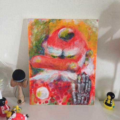 アクリル画「さっき描いた天狗の絵」