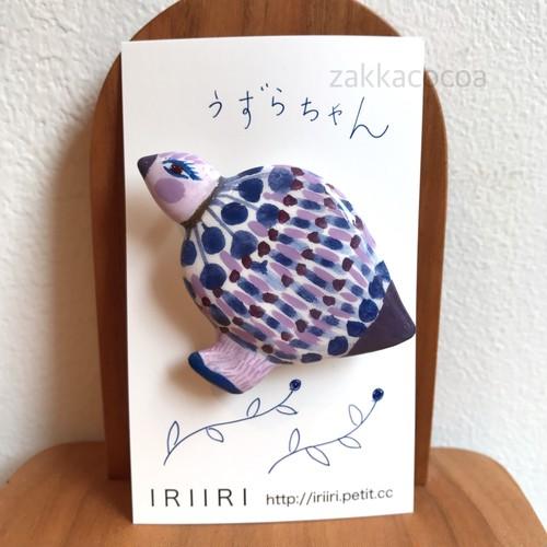 人形作家 IRIIRI ブローチ うずらちゃん CB-1【ハンドメイド】