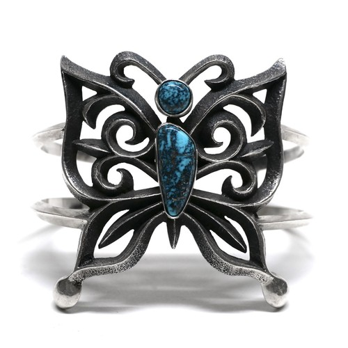 Navajo Sterling Silver & Turquoise Butterfly Bangle by Aaron Anderson