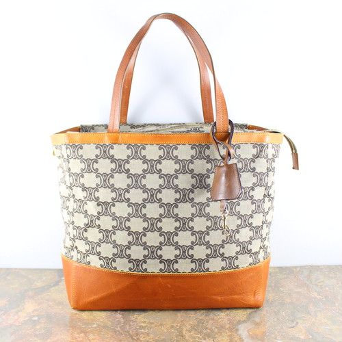 .OLD CELINE BIG MACADAM PATTERNED TOTE BAG MADE IN ITALY/オールドセリーヌビッグマカダム柄トートバッグ 2000000048147