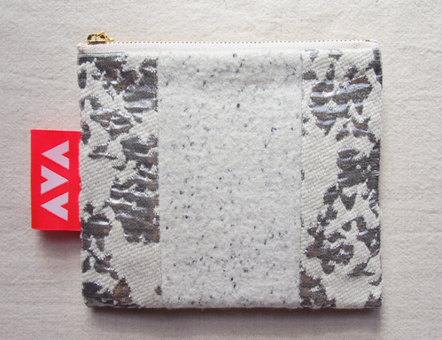 white&silver wool pouch