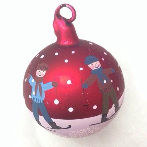 ピータープリース手工芸社 クリスマスガラスオーナメント 子供たち 赤B