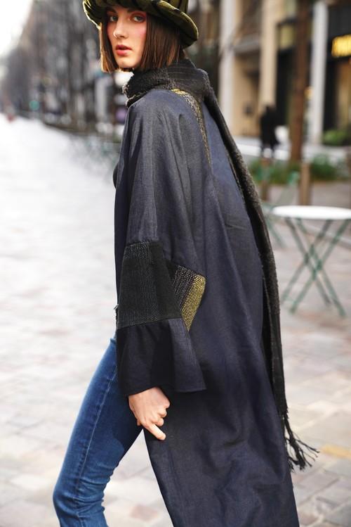 デザイナーズ1stチョイス 絹100%紬と手織綿布のコート 20CT005