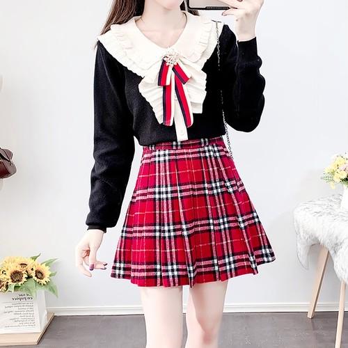 【2点セット】5色/フリルチャームニット+スカート ・17905