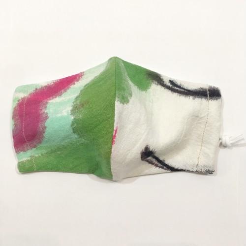 【HOLLYGRANTPATTERN】手染めの立体布マスク(ピンク×グリーン)
