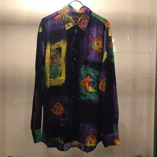 絵画モチーフのレーヨンシャツ