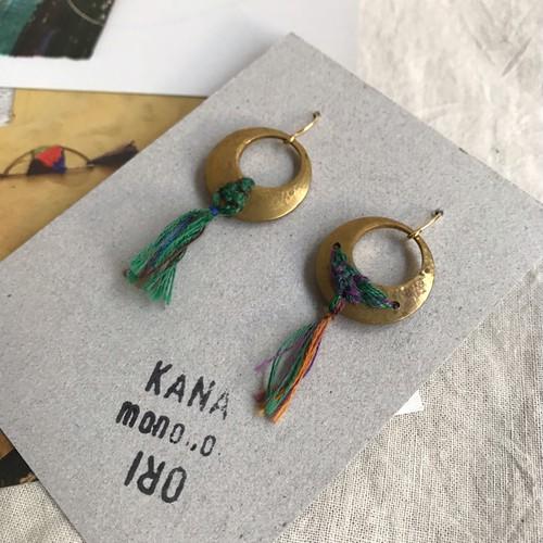 【作家作品】かなおり ピアス No.786 金属と織りのアクセサリー 一点物【ハンドメイド】