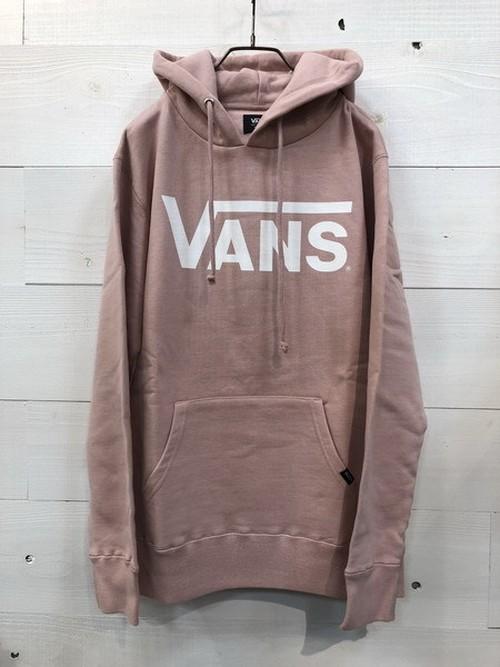 VANS (バンズ) クラシックロゴ プリント プルオーバー パーカー ライトピンク VANS-MC01