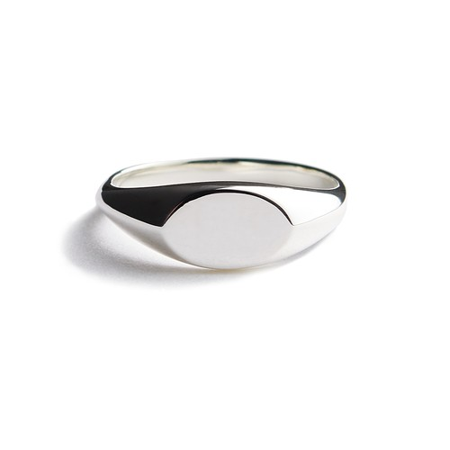 Ellipse polished silver ring