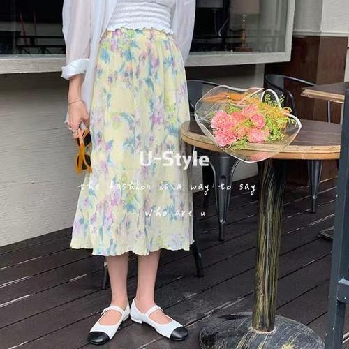 【送料無料】 花柄スカート 全2色・Q88761