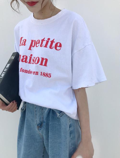 即納ラスト♡赤ロゴメッセージTシャツ