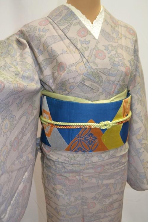【ウール着物】紬風☆丘の上の青いおうち【バチ衿】
