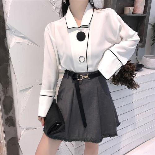 【セットアップ】2点セット新作シンプルファッションルーズシャツハイウエストスカート